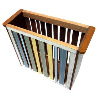 Handmade Recycled Wood Beach Stripes Magazine Bin (Thailand)
