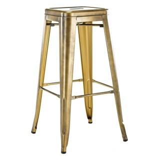Dreux Stackable Vintage Brass Steel Barstool (Set of 4)