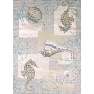 Structures Seahorse & Shell Area Rug (5'3 x 7'2)