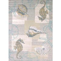 Structures Seahorse & Shell Area Rug - 7'10 x 10'6
