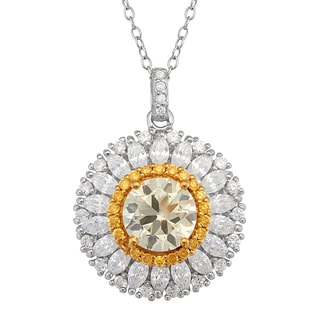 Sterling Silver White and Yellow Cubic Zirconia Floral Necklace