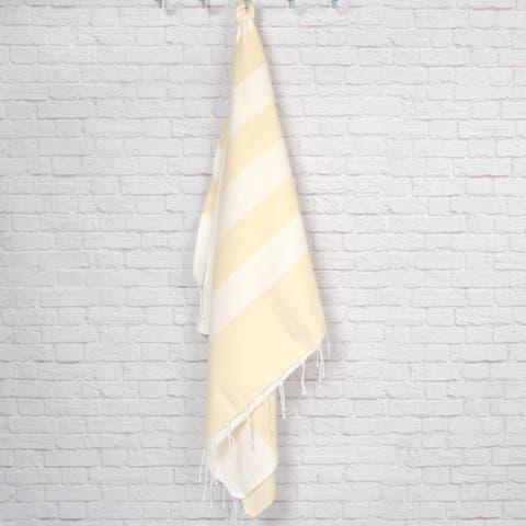 Pestemal Fouta Waffle Weave Cotton Striped Bath/ Beach Towel