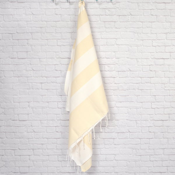 Pestemal Fouta Waffle Weave Cotton Striped Bath/ Beach Towel