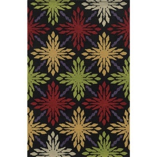 Rizzy Home Rockport Collection 100-percent Wool Hand-Tufted Black Accent Rug (3' x 5') - 3' x 5'