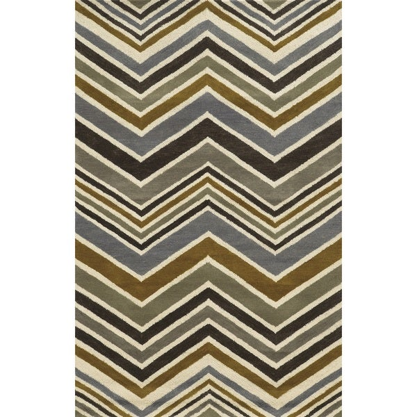 Rizzy Home Rockport Collection 100-percent Wool Grey Hand-Tufted Accent Rug (3' x 5') - 3' x 5'
