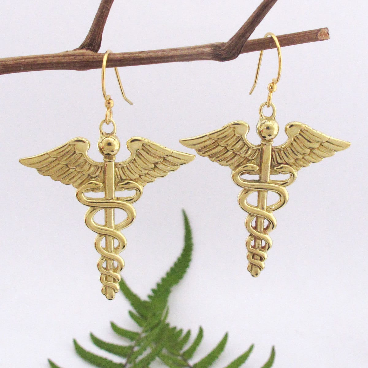 Spirit Handmade Brass Caduceus Symbol Dangle Earrings (Ba...