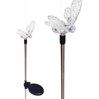Tricod Clear Acrylic Solar-powered Color-change Bumble Bee Garden Stake Light (Set of 2)