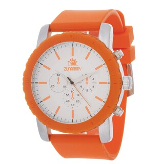 Zunammy Men's Silvertone Case & Orange / Orange Rubber Strap Watch