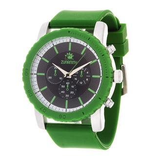 Zunammy Men's Silvertone Case & Green / Green Rubber Strap Watch