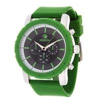 Zunammy Men's Silvertone Case & Green / Green Rubber Strap Watch