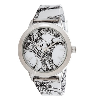 Fortune NYC Women's Silvertone Case Smoke Print Dial / Rubber Strap Watch