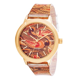 Fortune NYC Women's Goldtone Case Swirl Print Dial / Rubber Strap Watch