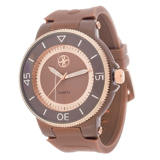 Fortune NYC Men's Rose Case & Ring / Brown Rubber Strap Watch