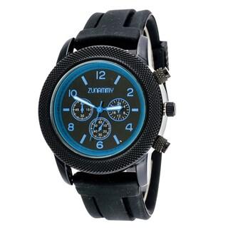 Zunammy Men's Blue Ring Case / Black Rubber Strap Watch