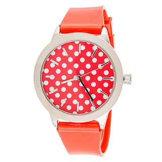 Fortune NYC Women's Silvertone Case Dot Dial / Red Plastic Strap Watch