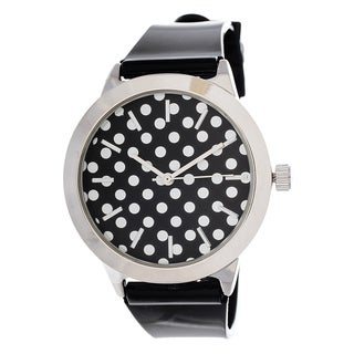 Fortune NYC Women's Silvertone Case Dot Dial / Black Plastic Strap Watch