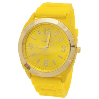 Via Nova Women's Gold Ring Case / Yellow Rubber Strap Watch