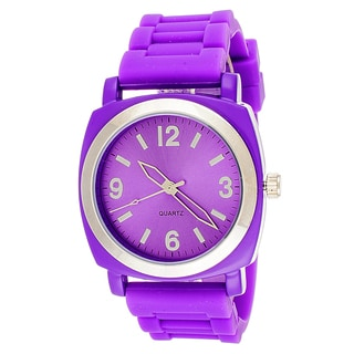 Zunammy Mens's Silvertone Case & Purple / Purple Rubber Strap Watch