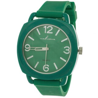 Via Nova Women's Round Case / Green Rubber Strap Watch
