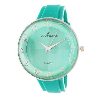 Via Nova Women's Round Case / Turquoise Rubber Strap Watch