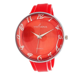 Via Nova Women's Round Case / Red Rubber Strap Watch