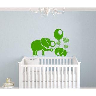 Elephants and Hearts Vinyl Sticker Wall Art
