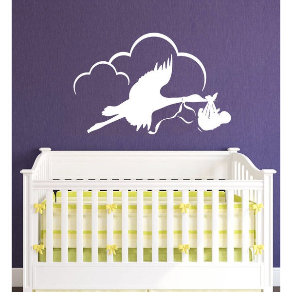 Stork with Baby Vinyl Sticker Wall Art