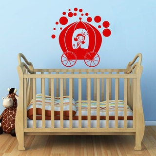 Princess in Carriage Vinyl Sticker Wall Art