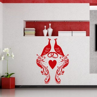 Peacocks Wedding Rings Vinyl Sticker Wall Art