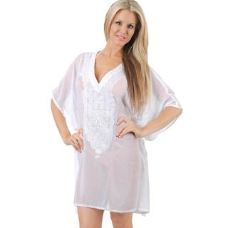 La Leela Bikini Cover up SHEER LIGHTWEIGHT Beach Dress Embroidered Bikini CHIFFON Coverup White