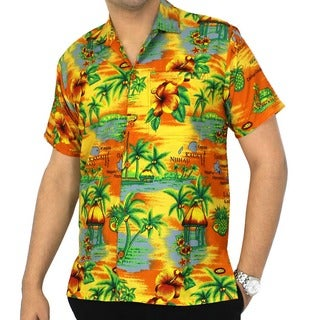 La Leela Men's Hawaii Paradise Printed Likre Orange Camp Shirt