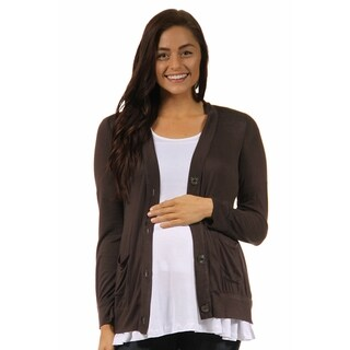 24/7 Comfort Apparel Women's Long Sleeve Maternity Button Front Cardigan