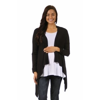 24/7 Comfort Apparel Women's Long Sleeve Maternity High-Low Shrug