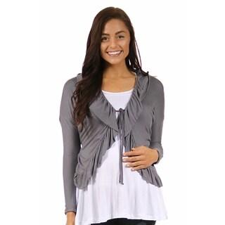 24/7 Comfort Apparel Women's Long Sleeve Maternity Tie Front Jacket