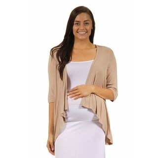 24/7 Comfort Apparel Women's Maternity 3/4-sleeve Open Shrug (More options available)