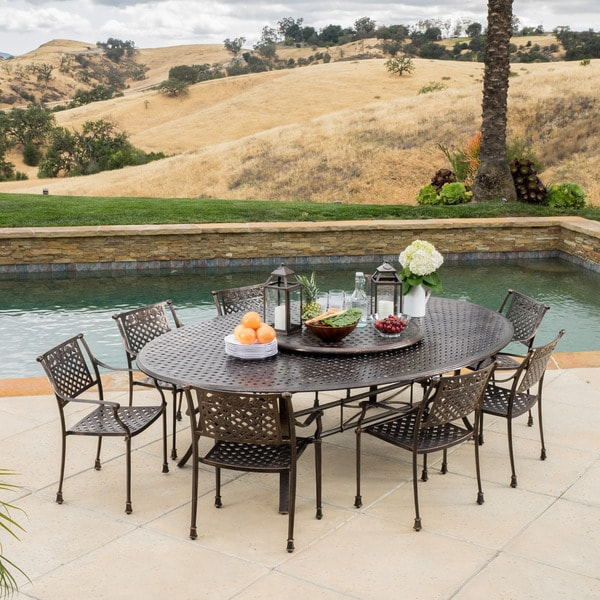 Sebastian Outdoor Cast Aluminum 9 Piece Dining Set With Lazy Susan By Christopher Knight Home