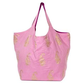 Handmade Cotton Soft Pink Duchess Tote (India)