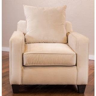 Somette Columba Velveteen Beige Club Chair