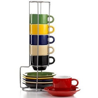 Sensation Stoneware 13-piece Espresso Set with Stand - Silver