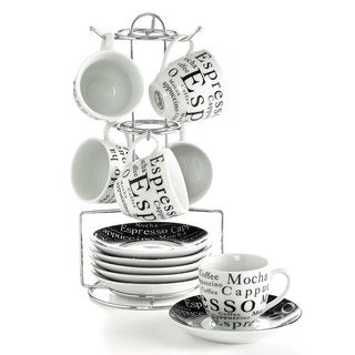 Gibson 13-piece Modern Porcelain Espresso Set with Stand