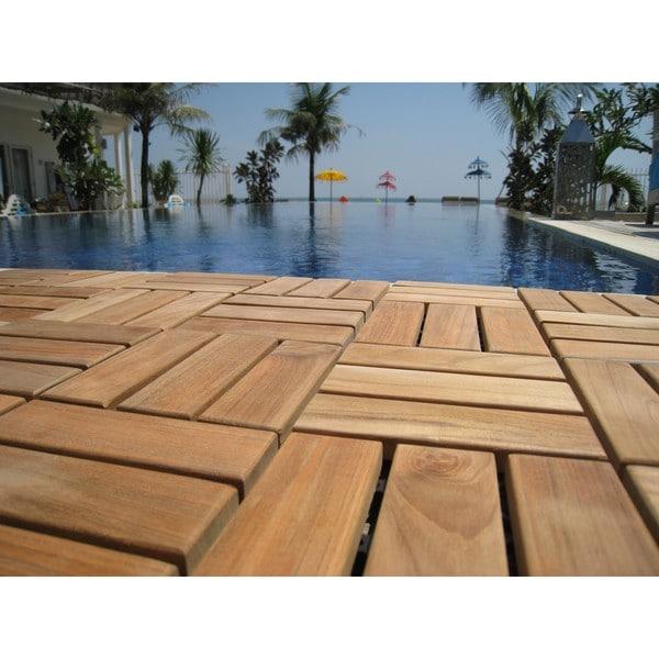 Bare Decor EZ Floor Interlocking Flooring Tiles In Solid Teak Wood (Set Of  10)   Free Shipping On Orders Over $45   Overstock.com   17329753