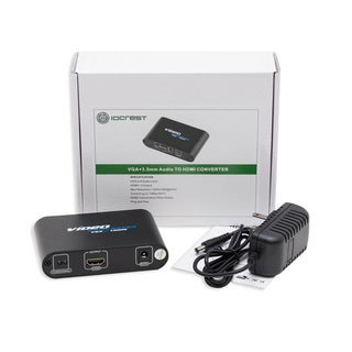 IOCrest VGA and 3.5mm Audio to HDMI Converter F/ F with 37-inch Cable