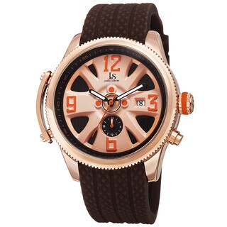 Joshua & Sons Sporty Men's Swiss Quartz Multifunction Brown Strap Watch