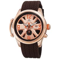 Joshua & Sons Sporty Men's Swiss Quartz Multifunction Brown Strap Watch