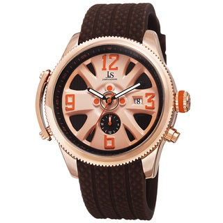 Joshua & Sons Sporty Men's Swiss Quartz Multifunction Brown Strap Watch with FREE GIFT