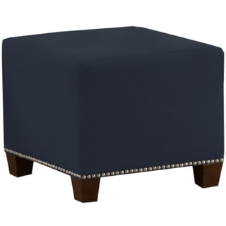 Made to Order Navy Blue Nail Button Ottoman