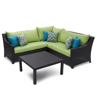 RST Brands Deco 4-piece Corner Sectional Set with Gingko Green Cushions