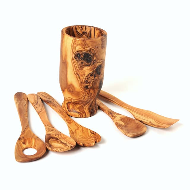 Olive Wood Utensil Holder and Set of 5 Kitchen Tools
