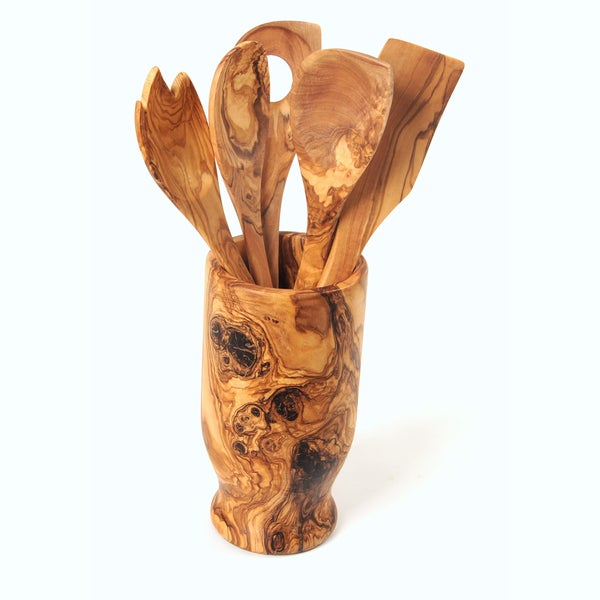 Handmade Olive Wood Utensil Holder And Set Of 5 Kitchen Tools (spork,  Spatula,