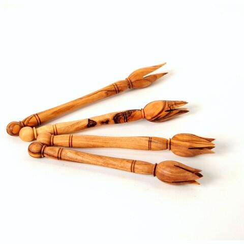 Handmade Olive Wood Forks Set of 4 Olive Picks (Tunisia)